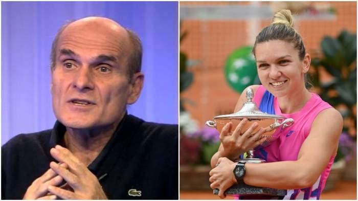 Cristian Tudor Popescu, captură de la Digi24, și Simona Halep cu premiul de la Turneul de la Roma, 21 septembrie 2020