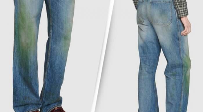 Blugi cu pete false de iarbă scoși la vânzare de Gucci