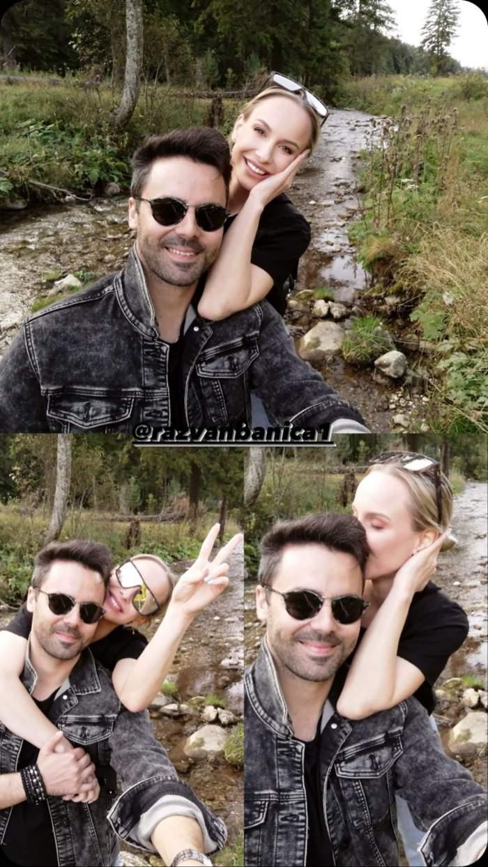 Sandra Izbașa și Răzvan Bănică, petrec clipe frumoase la Sinaia, sărutându-se și îmbrățișându-se