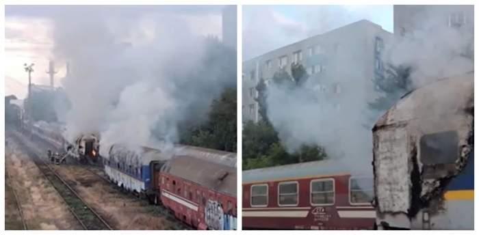 Incendiu la locomotiva unui tren București-Viena. Traficul feroviar a fost blocat