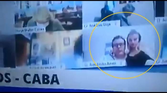 Captură cu Juan Emilio Ameri și soția, în direct la TV