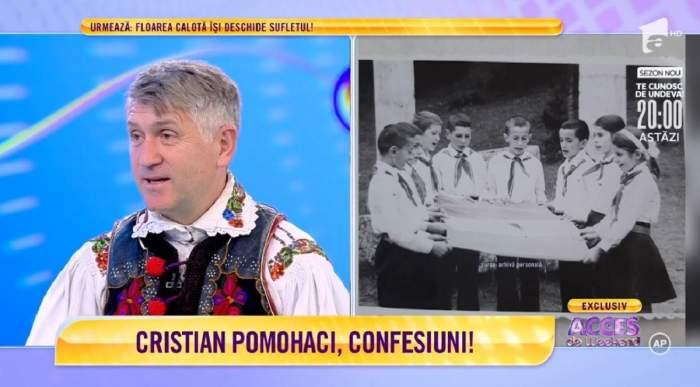 """Cristian Pomohaci la """"Acces Direct de Weekend"""". Fostul preot e îmbrăcat în port popular."""