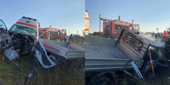 Doi oameni au murit, după ce o camionetă și o ambulanță s-au ciocnit puternic. Autoutilitara a luat foc.