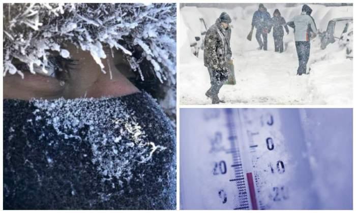 Colaj foto cu un termometru și oameni care merg prin zăpadă