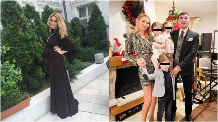 Colaj cu Valentina Pelinel gravidă/ Valentina Pelinel și Cristi Borcea alături de copii.