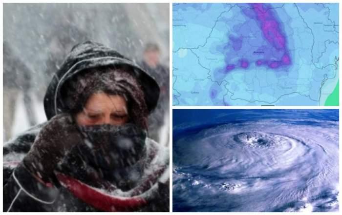 Colaj foto cu oameni foarte bine îmbrăcați de iarnă și vortexul polar