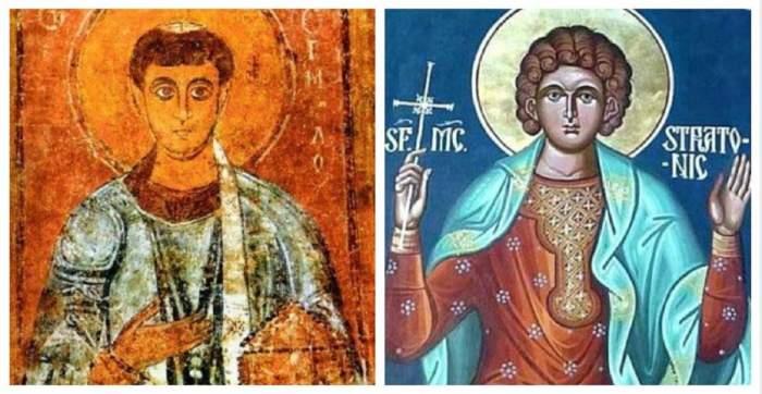 Colaj cu icoanele Sfinților Ermil și Stratonic.