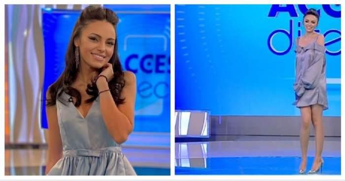 Un colaj cu Cosmina Adam. Asistenta tv se află în platoul Acces Direct.