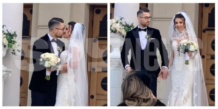 Un colaj cu Andrei Iordănescu și soția lui la nuntă. Ea poartă o rochie de mireasă albă, iar el un costum negru. Cei doi se sărută și se țin de mână.