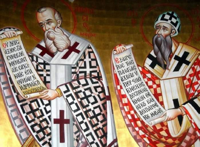 O icoană cu Sfinții Atanasie cel Mare și Chiril! Cei doi țin în mână pergamente și poartă veșminte colorate în alb, roșu și negru.