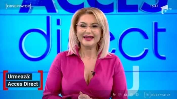 Emilia Ghinescu, în ținută roz, prezintă Acces Direct