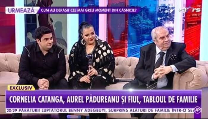 Cornelia Catanga, fiul ei și Aurel Pădureanu, îmbrăcați în negru, la Antena Sport