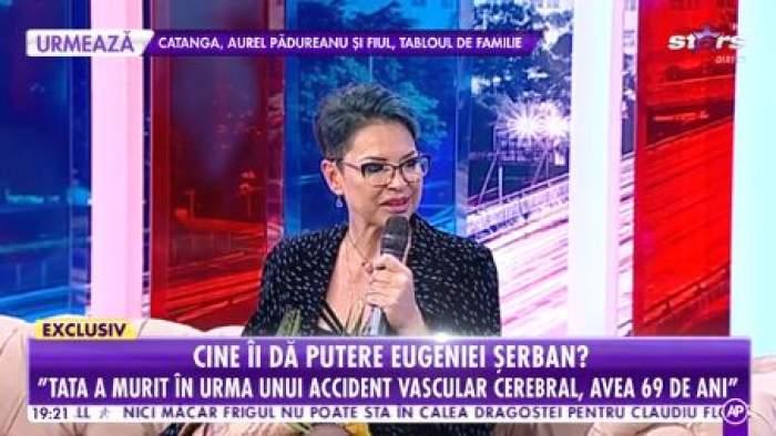 Eugenia Șerban, în lacrimi, la televizor în ținută neagră