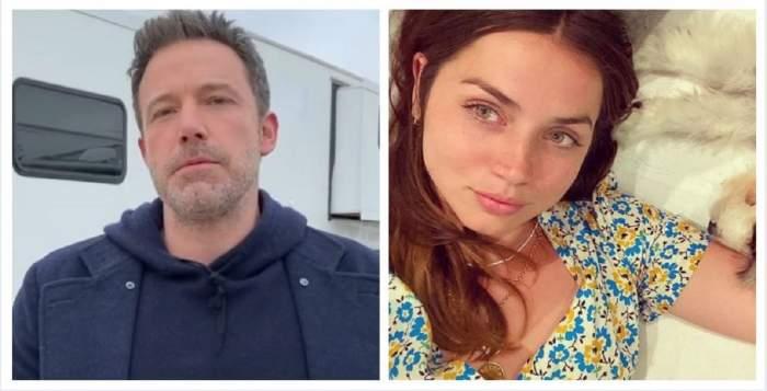 Un colaj cu Ben Affleck şi Ana de Armas. Ea poartă un tricou alb cu floricele galbene și bleu, iar el un hanorac și un palton albastru.