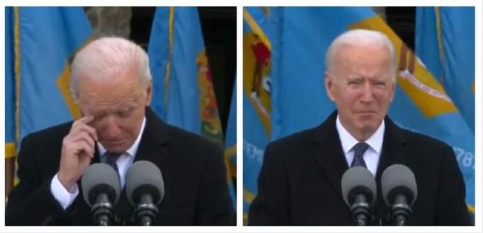 Un colaj cu Joe Biden care-și șterge lacrimile în timpul discursului din Delaware. Acesta purta un costum negru și cămașă albă.