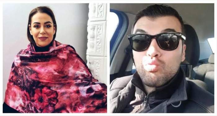 Un colaj cu Oana Roman și Marius Elisei.Ea poartă un șal colorat, iar el se află în mașină.