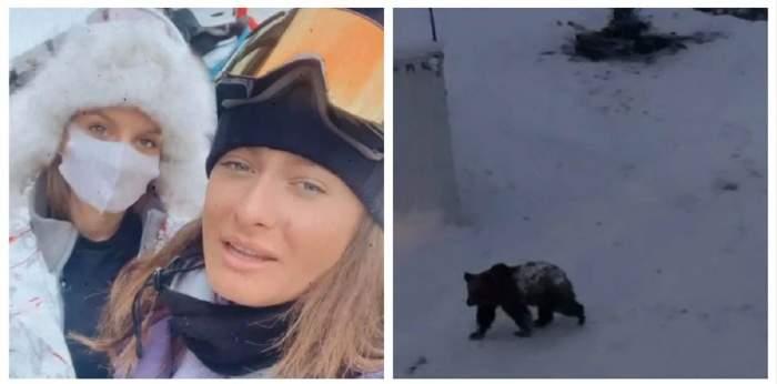 Un colaj cu Ana Baniciu, Raluka și un urs. Cele două poartă echipament de ski, iar animalul sălbatic merge prin zăpadă.