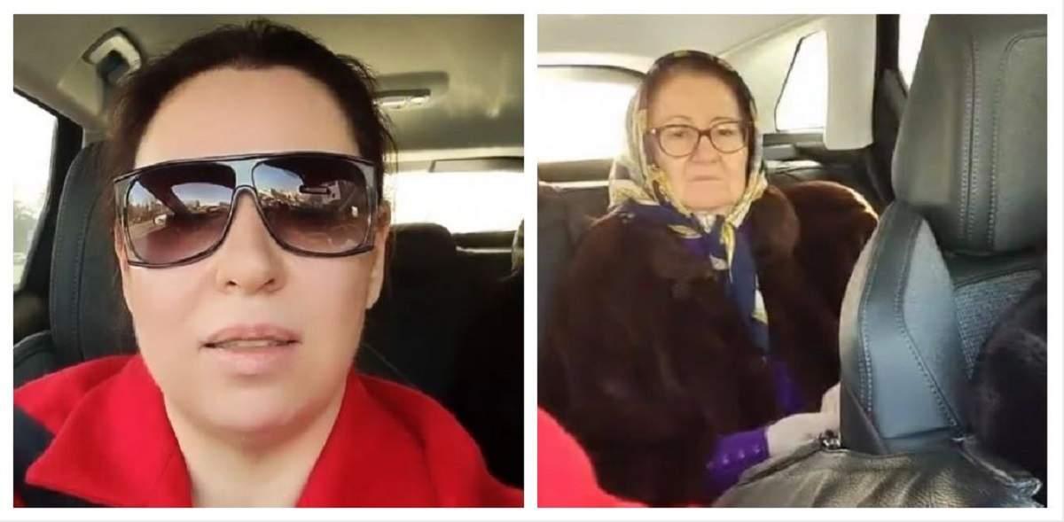 Un colaj cu Oana Roman și mama ei. Cea dintâi poartă o haină roșie și ochelari de soare, iar cealaltă stă pe bancheta din spate.