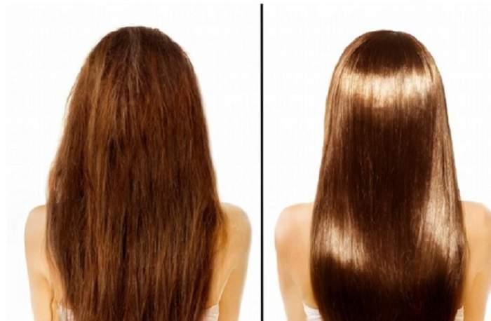 Colaj foto cu părul unei fete înainte și după ce a fost tratat