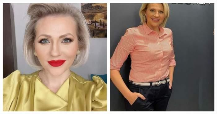 Un colaj cu Mirela Vaida. În prima poză vedeta poartă o bluză galbenă, iar în cealaltă o cămașă albă cu dungi roșii și pantaloni negri.