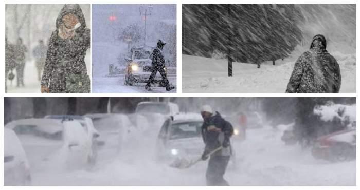 Colaj foto cu oameni care merg prin viscol și zăpadă
