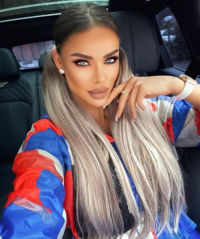Bianca Drăgușanu cu codiție, în mașină.