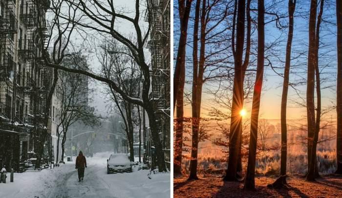 Colaj foto cu un anotimp rece și unul călduros