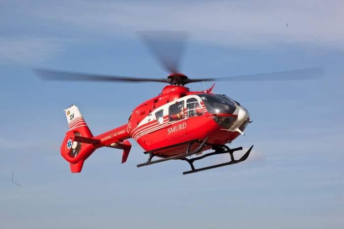Fetița a fost transportată la spital cu elicopterul SMURD