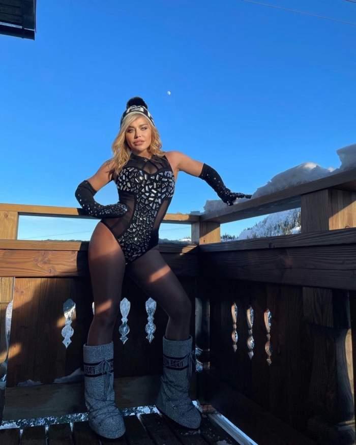 Loredana Groza la munte, în body negru cu sclipici.