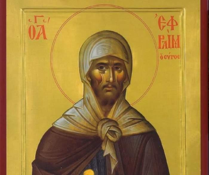 Icoană cu Sfântul Efrem Sirul. Acesta poartă veșminte crem și maro și ține în mână un pergament.