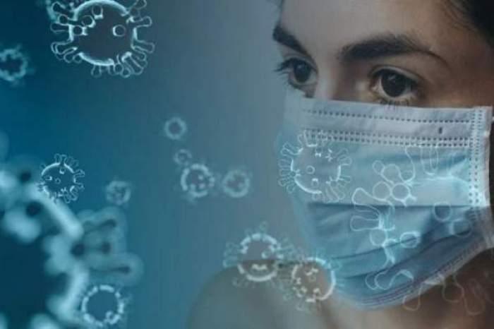 O femeie cu masca de protecție pe față, înconjurată de semnul ce indică noul coronavirus