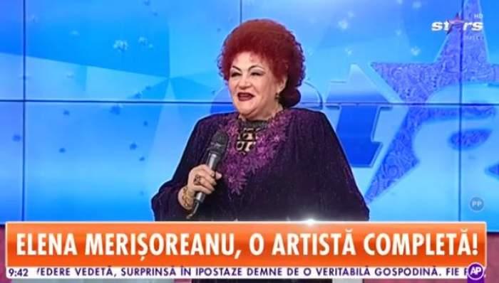 Elena Merișoreanu , în ținută mov, sclipitoare, la Antena Stars