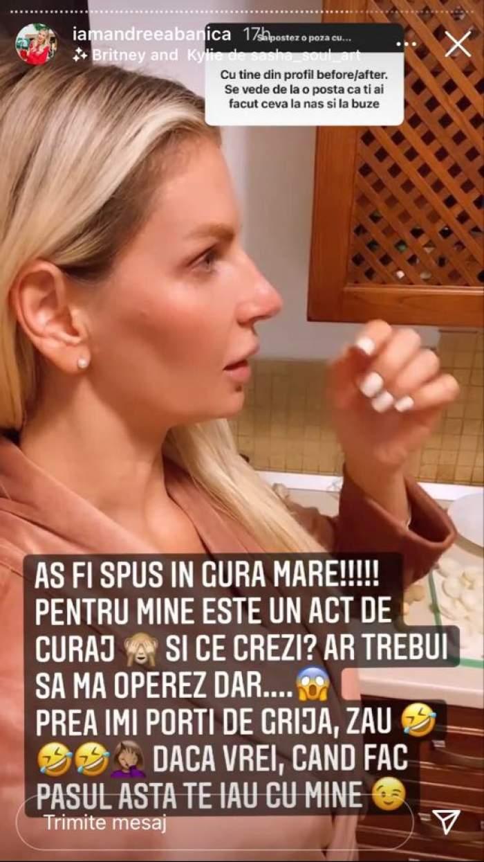 Andreea Bănică le-a spus fanilor de pe Instagram că are o deviație de sept. Artista poartă un halat maro.