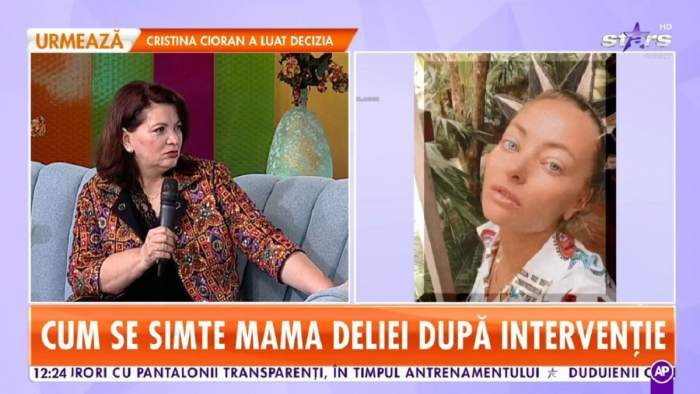 Gina Matache se află pe canapeaua de la Star Matinal. Artista vorbește la microfon și poartă o bluză colorată, tradițională.