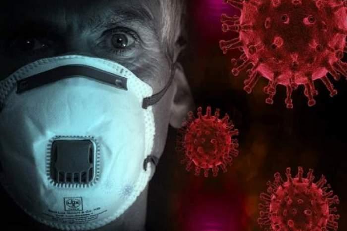 Imagine cu coronavirus si un om cu masca pe fata