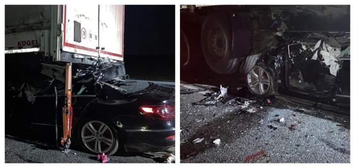 Accident teribil în Dolj, unde un șofer și-a pierdut viața după ce a intrat cu mașina sub remorca unui TIR! / FOTO