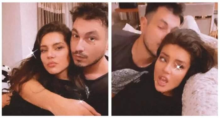 Un colaj cu Cristina Ich și Alex Pițurcă. Cei doi stau pe canapea. Fostul fotbalist o sărută pe cap pe influenceriță.