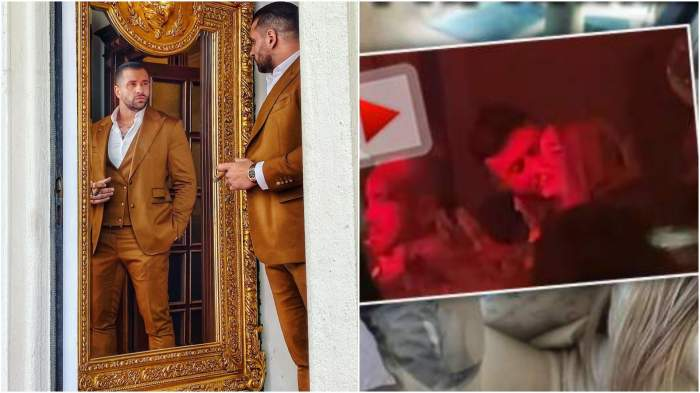Colaj cu Alex Bodi în oglindă/ Bianca Drăgușanu și Gabi Bădălău în timp ce se pupă.