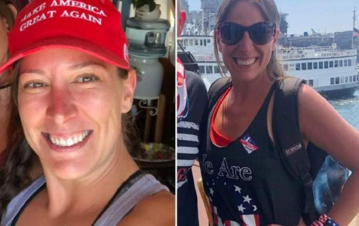 Un colaj cu Ashli Babbitt, femeia împușcată la Capitoliu. În prima imagine aceasta purta o șapcă roșie, iar în a doua purta ochelari de soare.