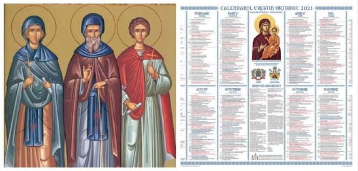Un colaj cu Sfânta Domnica, Sfântul Gheorghe Hozevitul și Sfântul Eladie și o imagine cu calendarul ortodox.