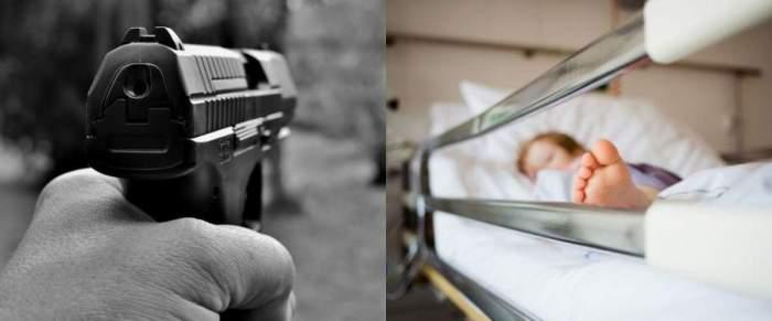 Colaj pistol și copil pe patul de spital