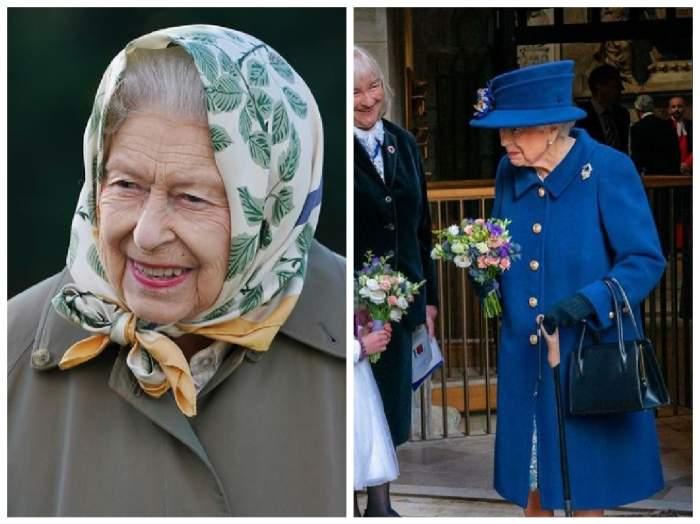 Regina Elisabeta a II-a, colaj cu ea cu batic și cu baston