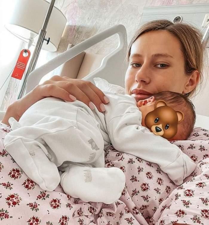 Gabriela Prisăcariu, cu copilul în brațe