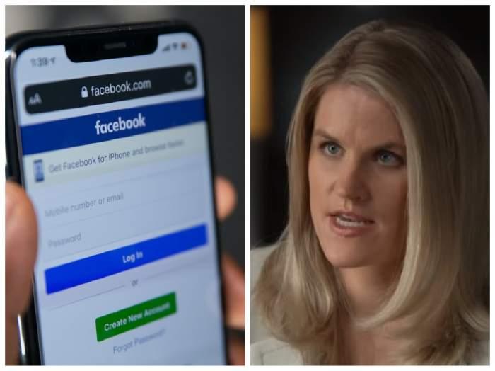 Colaj cu Facebook pe telefon și Frances Haugen în timpul interviului