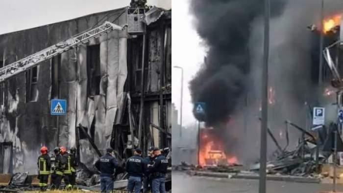 Colaj foto cu imaginile dezastrului după prăbușirea avionului lui Dan Ptrescu