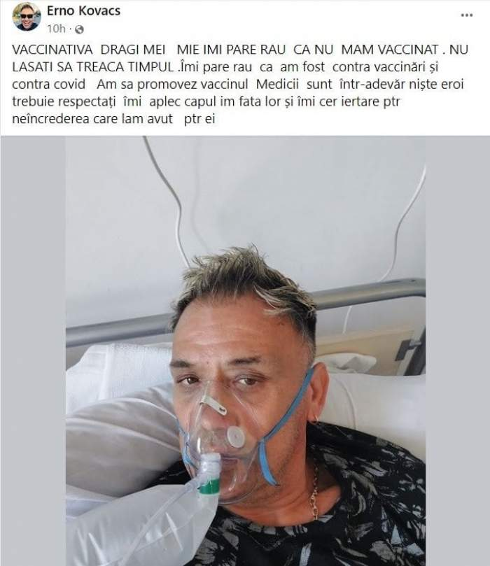 Cine este Erno Kovacs și ce rol a jucat în protestele anti-vaccinare. Internat în spital cu COVID-19, el a îndemnat oamenii să facă vaccinul