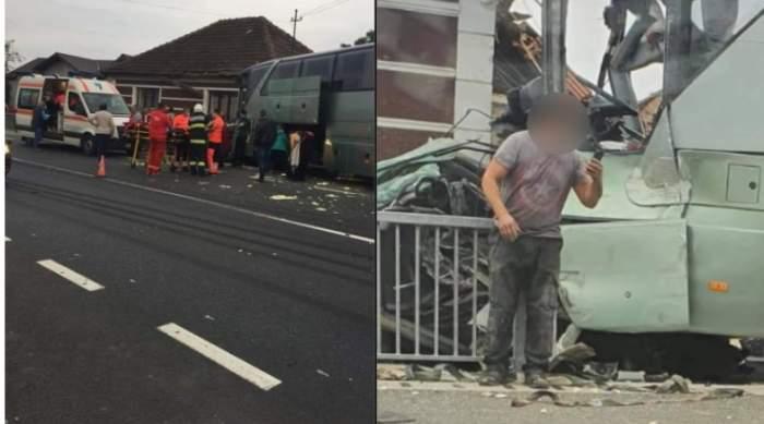 Un autocar cu pasageri s-a izbit violent de un TIR, în Bihor. Nouă persoane au fost rănite / FOTO