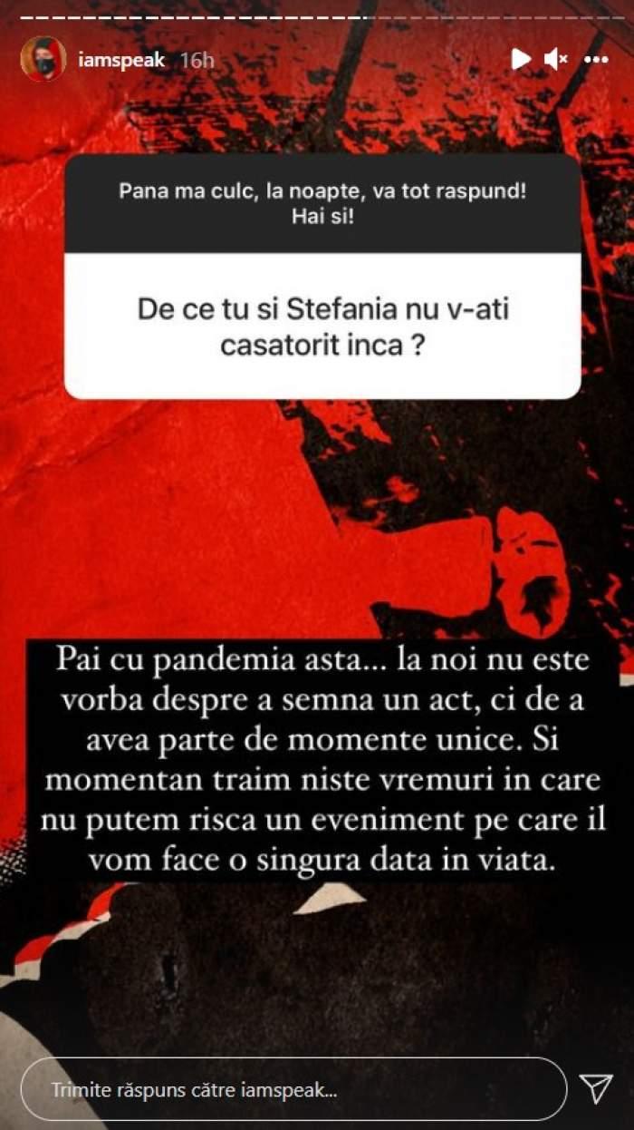 """De ce nu se căsătorește Speak cu Ștefania. Artistul le-a răspuns fanilor lui: """"Nu este vorba despre a semna un act"""""""