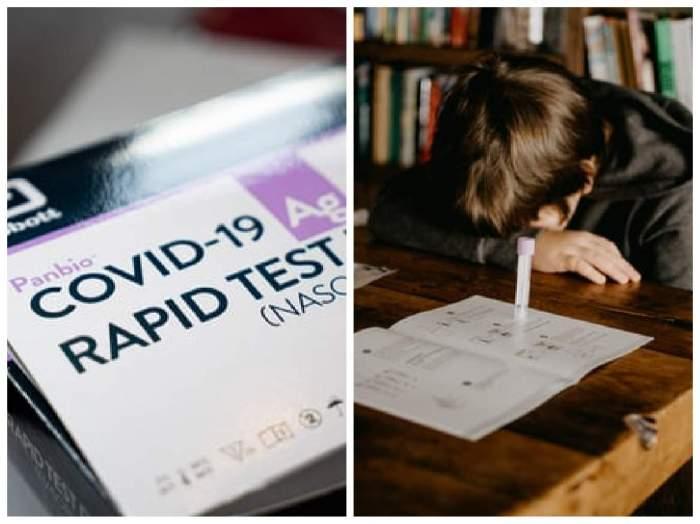 Colaj foto cu un elev și un teste covid-19
