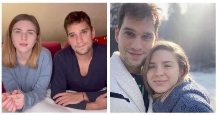 Un colaj cu Vlad Gherman și Cristina Ciobănașu. În prima imagine ea poartă o bluză bleu, iar el una albastră. În a doua poză cei doi se află afară și își fac un selfie.